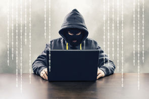 Masked computer hacker attacking internet services with binary code illustration