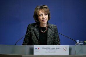 Marisol Touraine, le 9 mars 2015, présente le projet de loi de santé, au ministère de la Santé.
